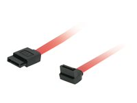 C2G 180 Degree to 90 Degree Right Angle Serial ATA (SATA) Cable - SATA-kabel - Serial ATA 150/300/600 - SATA (hunn) til SATA (hunn) - 50 cm - 90°-kontakt, høyrevinklet kontakt - rød 81824