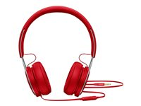 Beats EP - Hodetelefoner med mikrofon - on-ear - kablet - 3,5 mm jakk - lydisolerende - rød - for 10.5-inch iPad Pro; 12.9-inch iPad Pro; 9.7-inch iPad; 9.7-inch iPad Pro; iPad; iPad 1; 2; iPad Air; iPad Air 2; iPad mini; iPad mini 2; 3; 4; iPad with Retina display; iPhone 3G, 3GS, 4, 4S, 5, 5c, 5s, 6, 6 Plus, 6s, 6s Plus, SE; iPod classic; iPod nano; iPod shuffle (4G); iPod touch ML9C2ZM/A