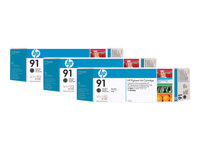 HP 91 3-ink Multipack - 3-pack - 775 ml - matt svart - original - blekkpatron - for DesignJet Z6100, Z6100ps C9480A