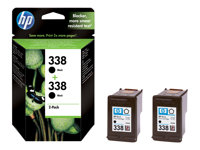 HP 338 - 2-pack - 11 ml - svart - original - blekkpatron - for Officejet H470, K7100, K7103; Photosmart 26XX, C3110, C3125, C3173, C3175, C3193, C3194 CB331EE