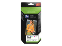 HP 364 Series Photo Value Pack - 3-pack - gul, cyan, magenta - blister - skriverpatron / papirsett - for Deskjet 35XX; Photosmart 55XX, 55XX B111, 65XX, 65XX B211, 7510 C311, 7520, eStation C510 T9D88EE#301